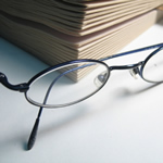 Eyeglasses by reading book.