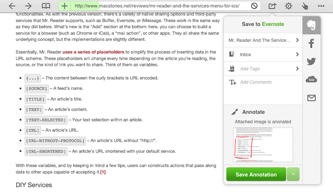 How Evernote works in a browser