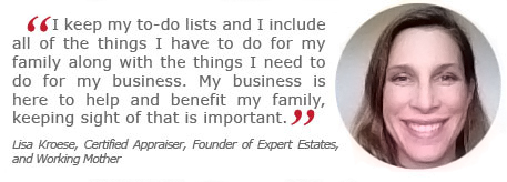 lisa kroese, certified personal property appraiser, working mom